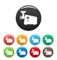meat grinder machine icons set color vector image