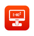 monitor with einstein formula icon digital red vector image vector image