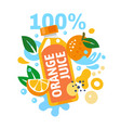 orange juice with splashing water and leaves and vector image vector image