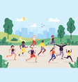 park marathon people running outdoor joggers vector image vector image