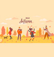 people in autumn park in different situations vector image