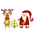 santa reindeer and tree vector image vector image