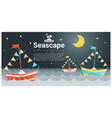 seascape background with colorful paper ship vector image vector image