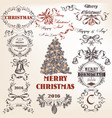 set of hand drawn objects christmas and new year vector image