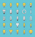 set of simple type of light bulb and fluorescent vector image vector image