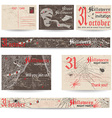 Set of vintage post cards and banners for vector image