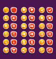 set with shiny red and yellow interface buttons vector image vector image