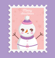snowman with hat scarf and belt merry christmas vector image vector image