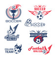 soccer football club tournament icons set vector image vector image