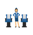 stewardess in red uniform standing inside an vector image vector image