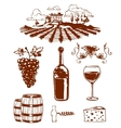 Traditional vinery farm production with grape vector image