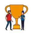 trophy cup award with business couple vector image