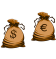 Vintage brown money bags with euro and dollar vector image