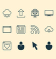 web icons set with virtual application window vector image