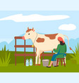 woman farmer near cow on nature landscape vector image vector image