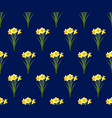 yellow daffodil - narcissus seamless on navy blue vector image