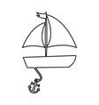 sailboat sea with anchor vector image