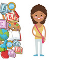 afro kid girl pupil supplies school vector image