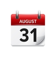 August 31 flat daily calendar icon Date vector image vector image