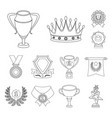 awards and trophies outline icons in set vector image