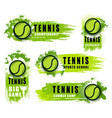 big tennis game icons with ball and blobs vector image