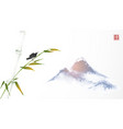 bird sitting on bamboo tree and far blue mountains vector image vector image