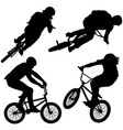 bmx bike riders on white background vector image vector image