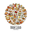 books collection sketch for your design vector image