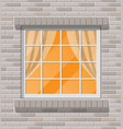 building facade classic window in brick wall vector image