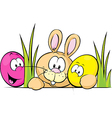 bunny peeking from behind desk with cute eggs vector image