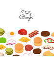 burger ingredients background with place vector image