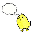 cartoon happy yellow bird with thought bubble vector image vector image