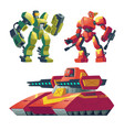 cartoon robot guards tank battle androids vector image vector image