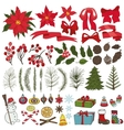 Christmas tree branchesflowersdecoration set vector image vector image