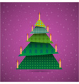 Colorful origami christmas tree with candles vector image vector image