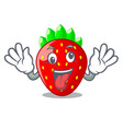 crazy fresh strawberry in a bowl cartoon vector image vector image
