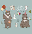 cute birthday hares and bear collection vector image vector image