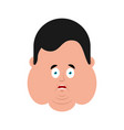 fat omg scared face emotion avatar stout guy oh vector image