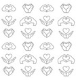 hand and heart pattern vector image vector image