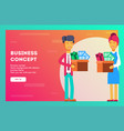 happy businessmen holding boxes with their things vector image