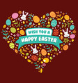 happy easter with love shape vector image vector image