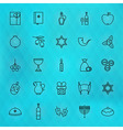 Happy Hanukkah Thin Line Icons Set vector image vector image