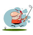 Happy Man Swings Golf Club vector image vector image
