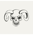 horns with human skull Black and vector image vector image