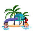 kids playing in play ground in tropical vector image vector image