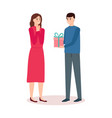 man giving gift to woman birthday present vector image