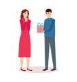 man giving gift to woman birthday present vector image vector image