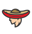 mexican man in sombrero sign vector image vector image