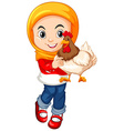 Muslim girl holding a chicken vector image vector image