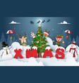 origami paper art christmas party with vector image
